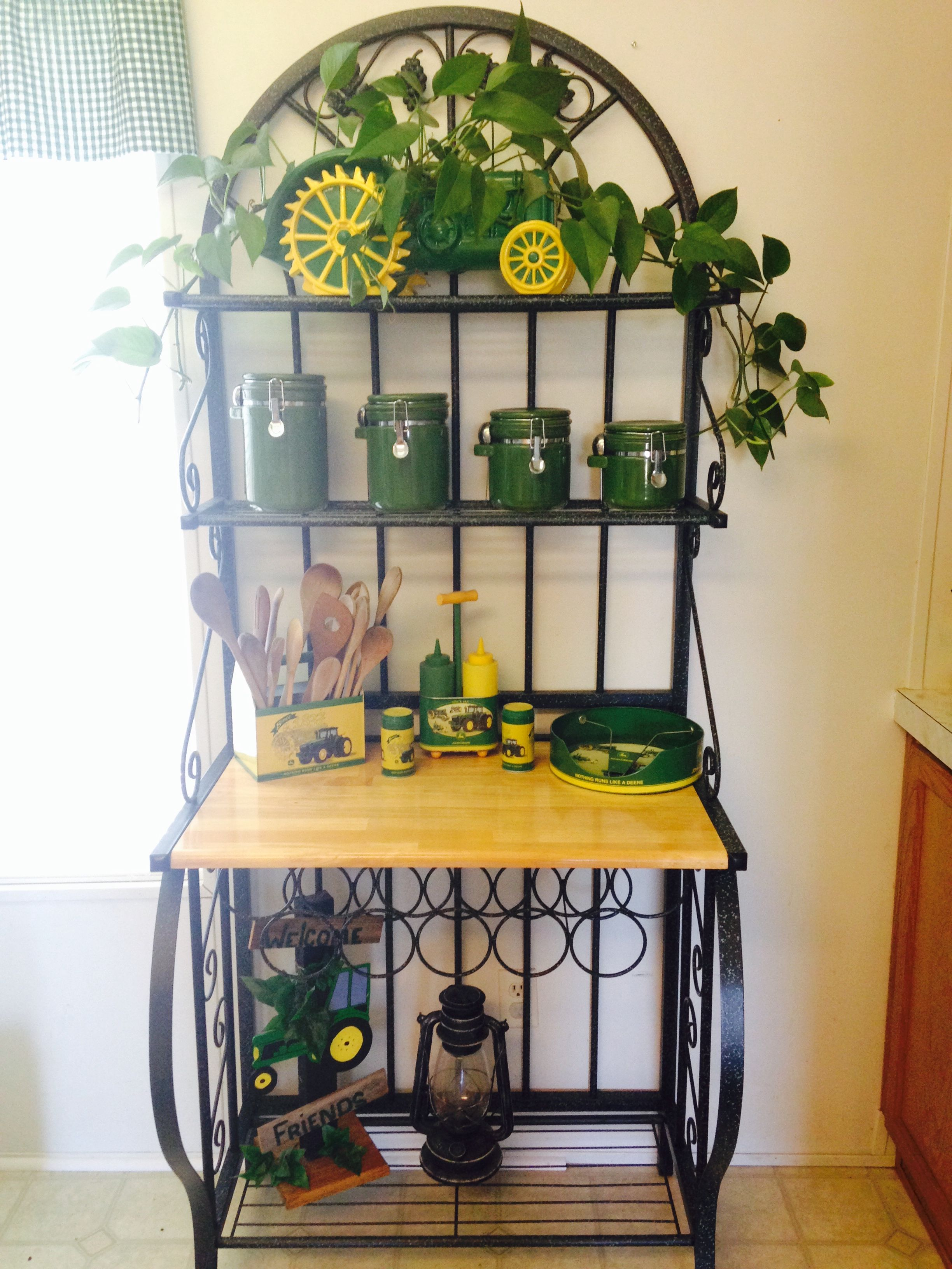 I decorated my new Baker s rack with my John Deere décor I think