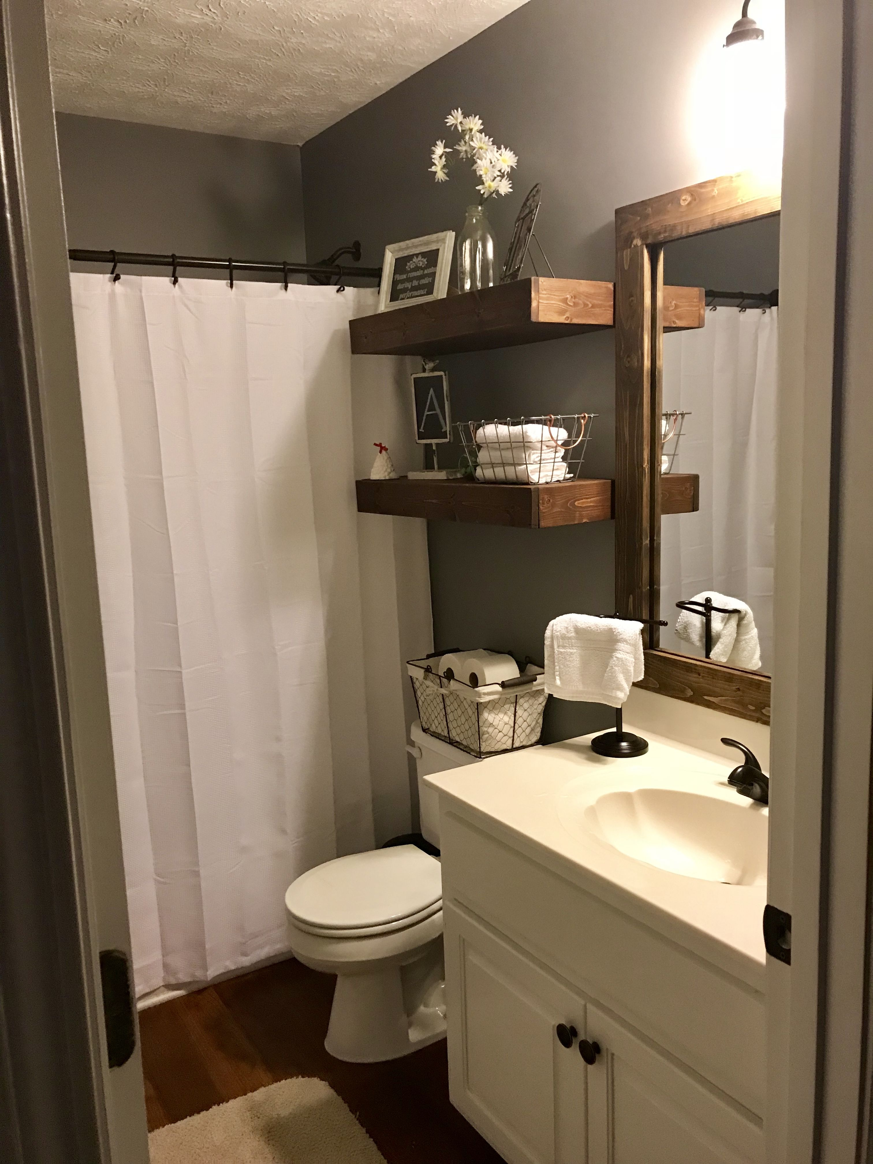 We Painted Our Guest Bathroom, Changed The Shower Curtain And Added A Frame  Around The