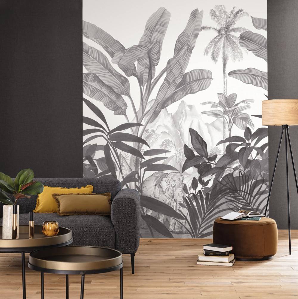 Papier Peint Panoramique Noir Et Blanc papier peint panoramique jungle elephant hathi noir et blanc