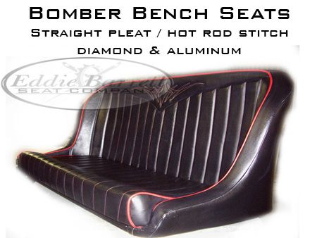 Low Back Bench Bomber Style Seat Black Vinyl Seat With Red Welt And