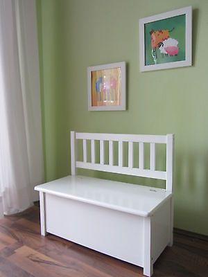 Kindersitzbank Mit Hydraulikfeder Kinderbank Sitzbank Bank Truhe MASSIVHOLZ  WEIß
