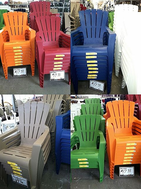 Saw These Today At Home Depot So Cute And Cheap Adirondack Chairs Patio Plastic Adirondack Chairs Patio Cheap Outdoor Chairs