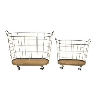 3r Studios 30 1 2 In L Metal Rolling Laundry Baskets Set Of 2