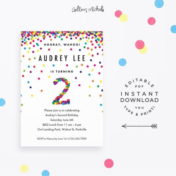 Rainbow 2nd Birthday Invitation Instant Download Printable PDF Cute Confetti Invites For 2 Year Ol