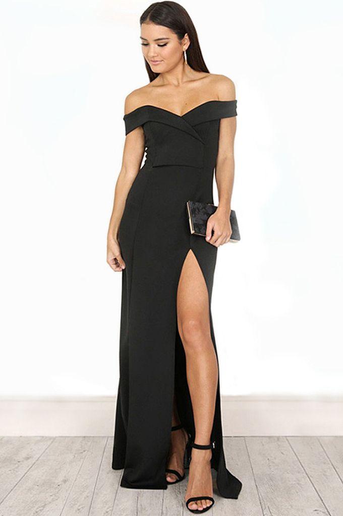 eef92595871 Elegant Slash Neck Backless Split Midi Bandage Dress