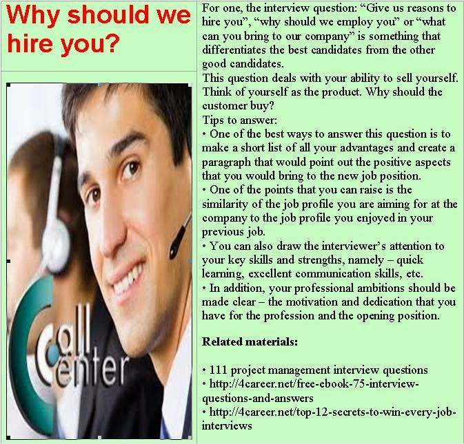 Call center interview questions: Why should we hire you ...