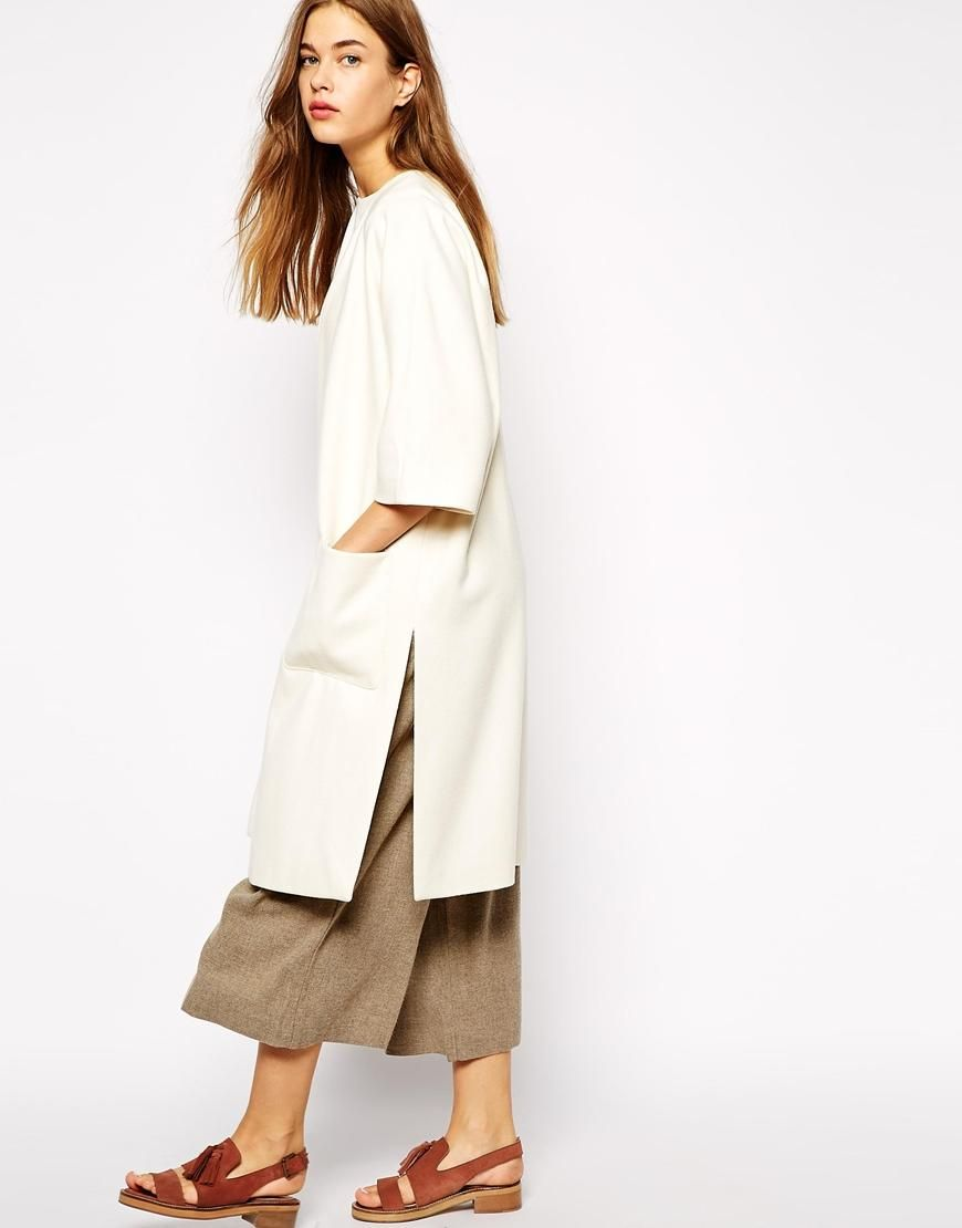 Sandals, dress/coat and colors // Ganni | Ganni Throw On Coat with Pockets at ASOS