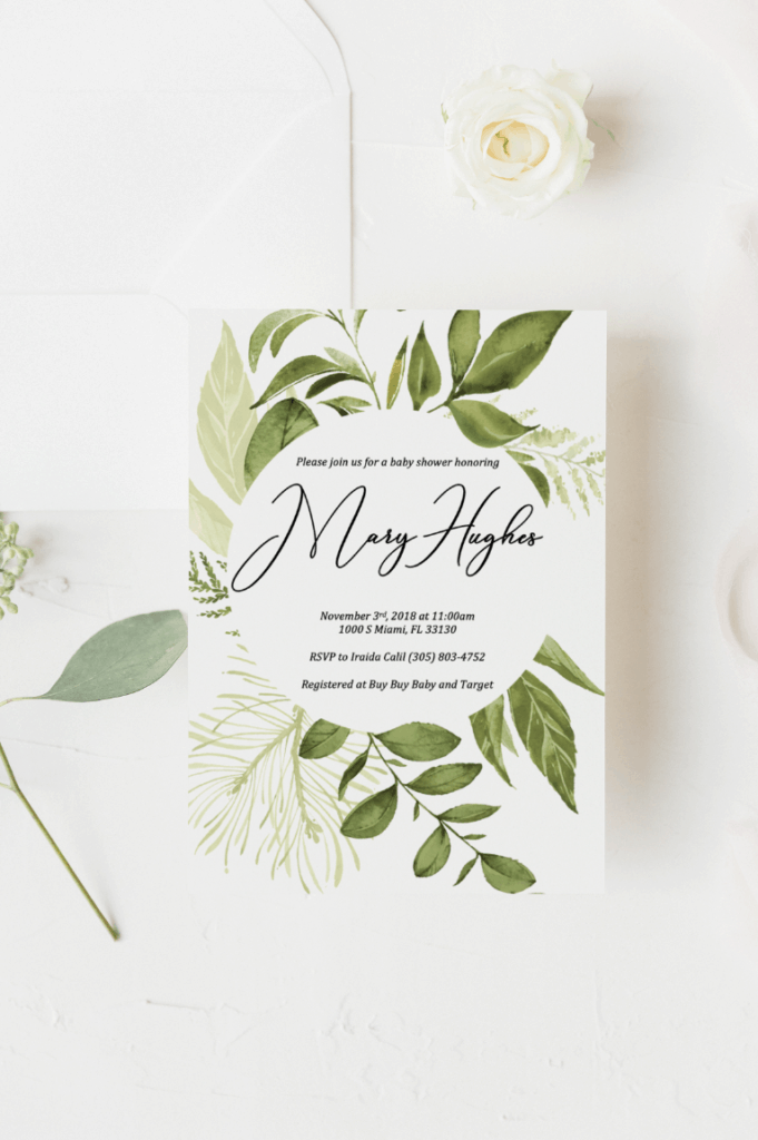 Greenery Baby Shower Invitation Template in 2020 | Baby ...