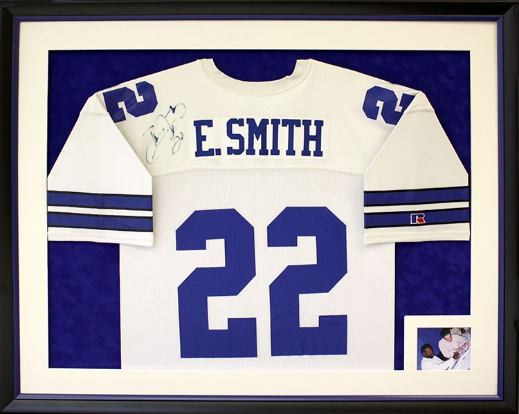 Football jersey framed with custom opening for signing photo ...
