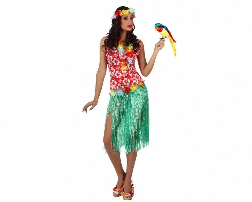 Vestito da hawaiana ,collana di fiori ,coroncina di fiori ,gonna a fantasia  ,camicia a fantasia E sei un\u0027Hawaiana