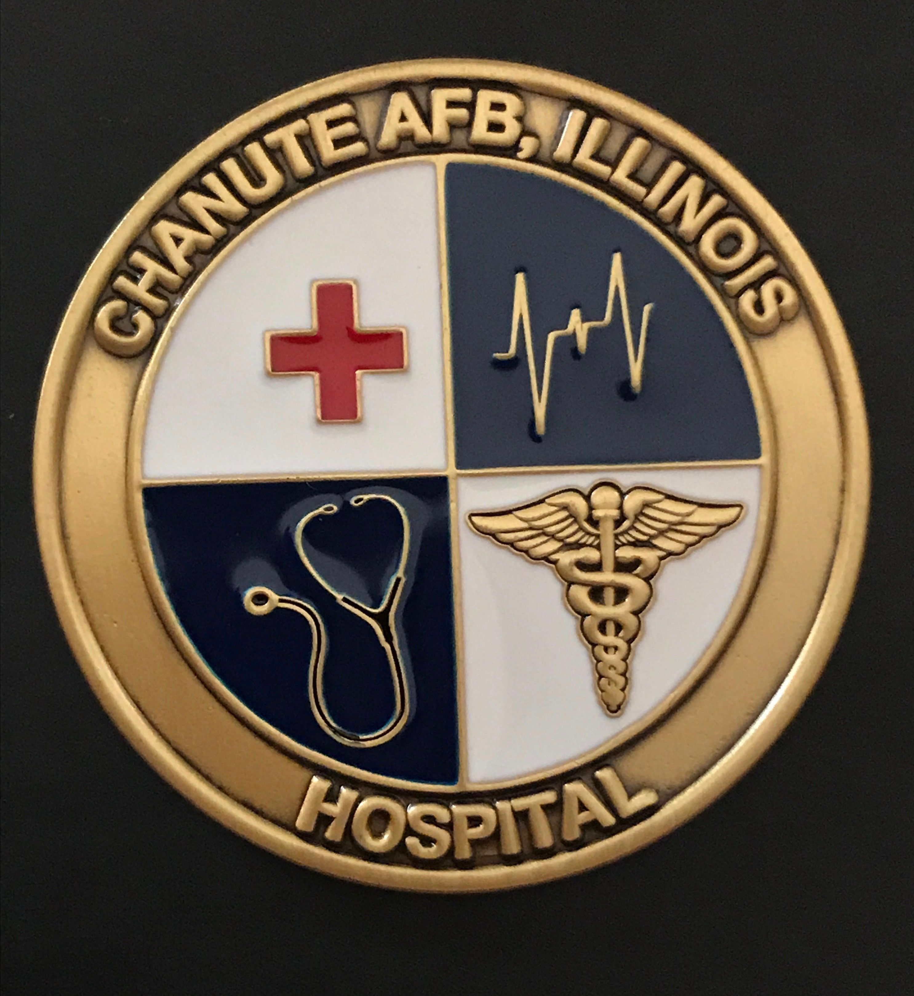 """1.75"""" Antique Brass Air Force Base Hospital Challenge Coin"""