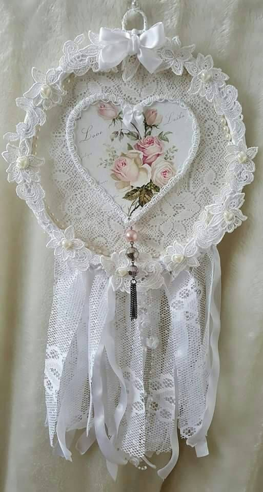 Dreamcatcher Shabby Chic Decor Dream Catcher Lace Collage Wall Hanging Altered Hoop Embroidery Gift For Mum
