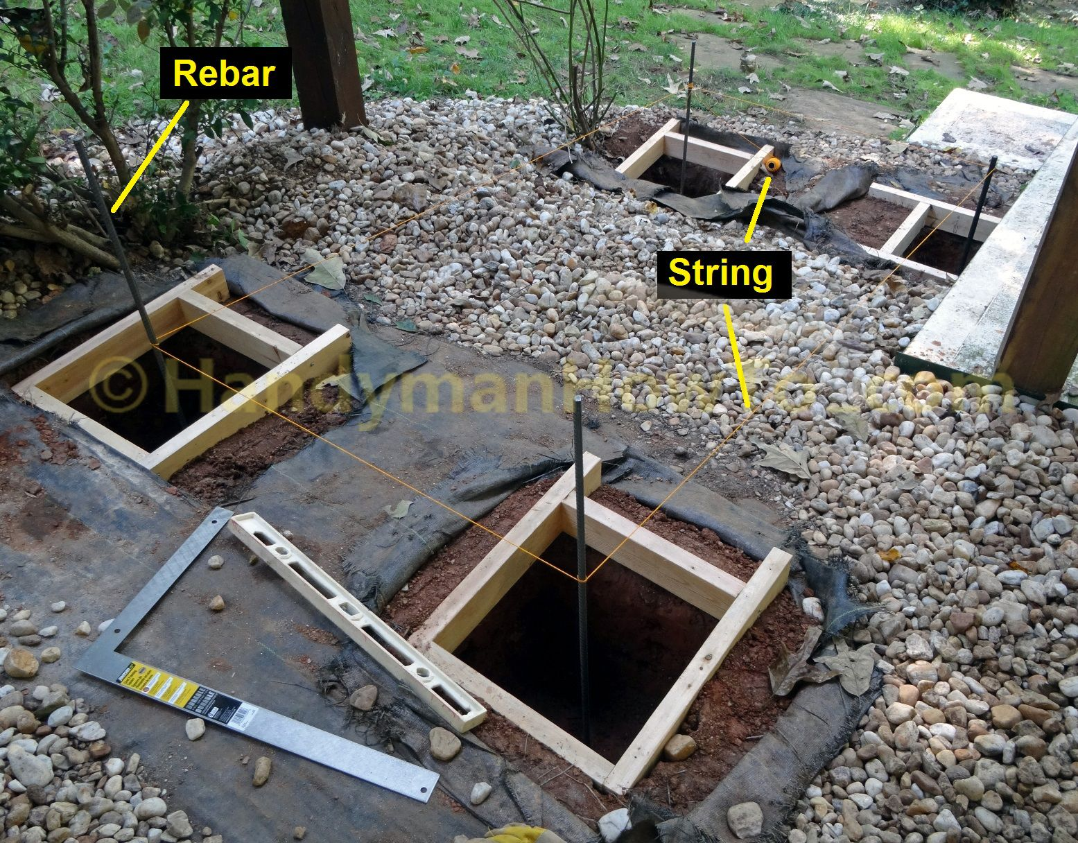 6x6 Deck Post Installation Square And Mark Post Footers Concrete Deck Deck Posts Deck Footings