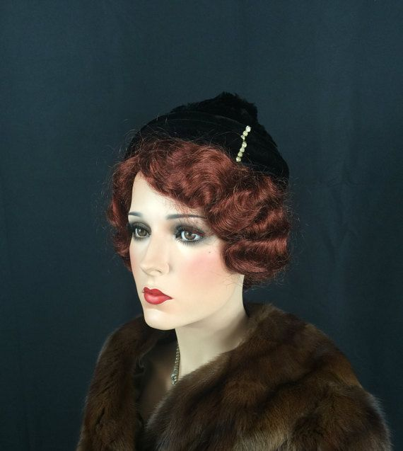 Vintage 30s Hat Gatsby Black Art Deco Mink Fur 1930s Multi Tilt Hat with Velvet Combs Clear Rhinestone Trim 2-3