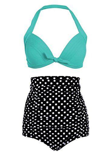 87baf6e664 Tailloday Vintage Bikini Retro Femme 2 pieces Maillot de bain Taille haute  style (Small,