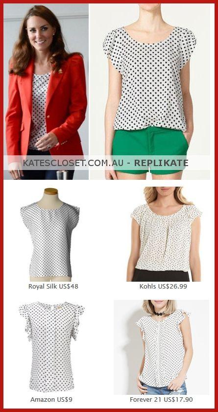 80caac0755df8 Click to shop affordable repliKates of the Zara White Polka Dot Blouse