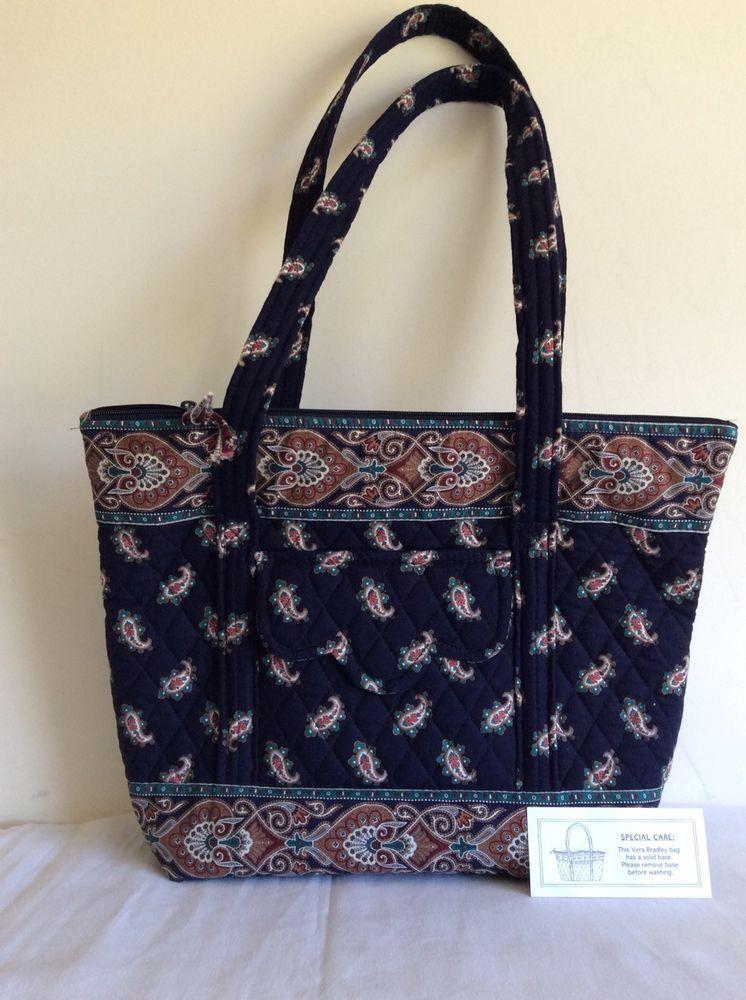 f128f526417 Vera Bradley Retired In 1998 Navy Villager Tote Handbag Purse Hardly Ever  Used   eBay