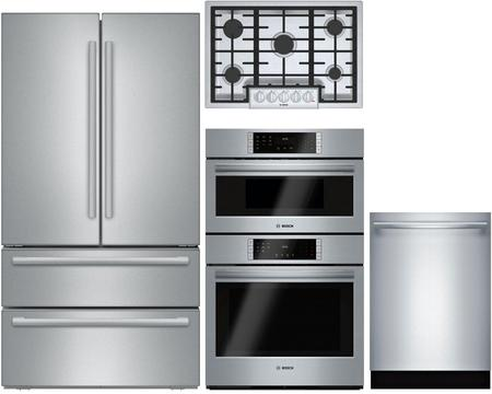 Bosch 4 Piece Stainless Steel Kitchen Package With B21cl81sns 36 Inch French Door Refrig Kitchen Appliance Packages Kitchen Appliances French Door Refrigerator