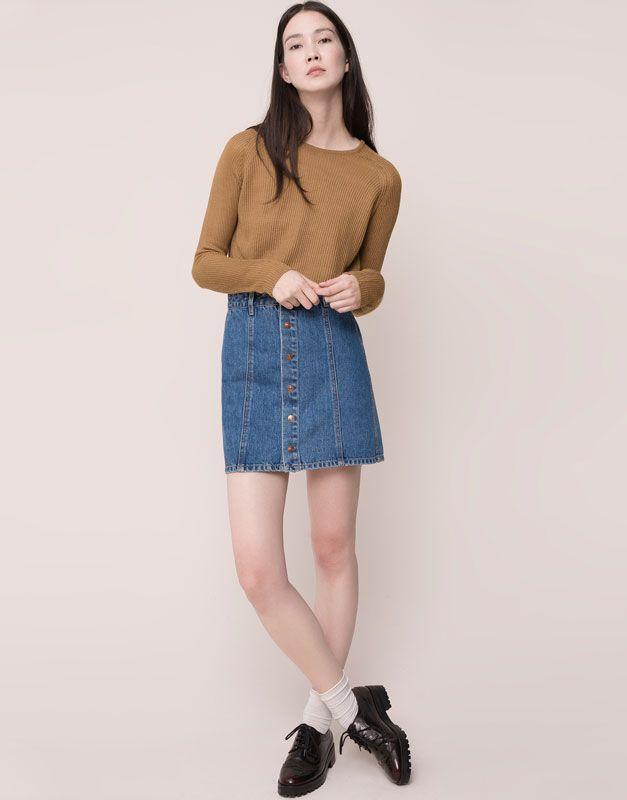 Pull&Bear - woman - skirts - buttoned denim skirt - blue - 09398321-I2015