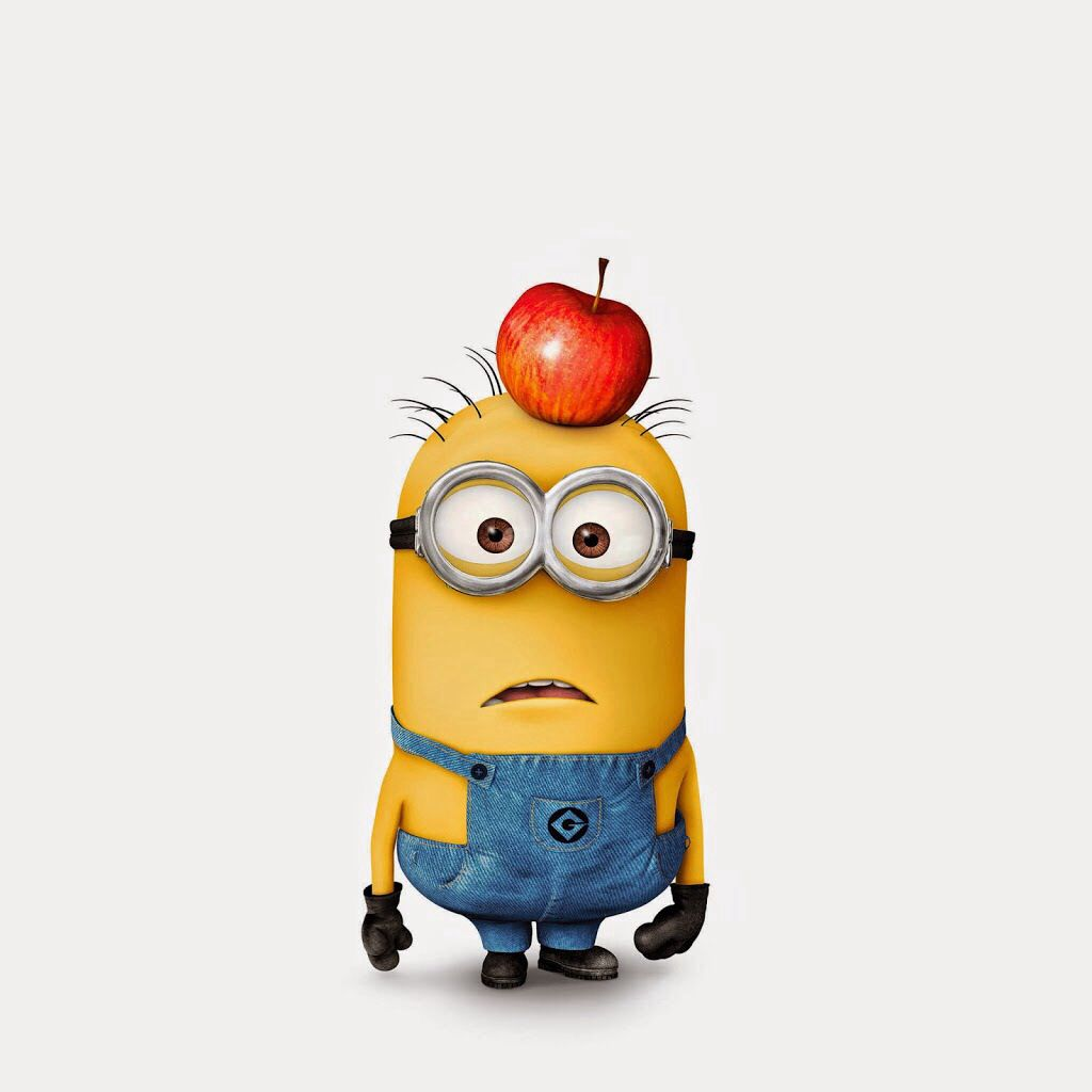 Just A Confused Minion With An Apple On His Head With Images
