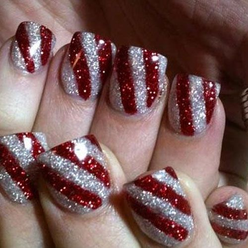 red,silver,glitter,stripes,nails