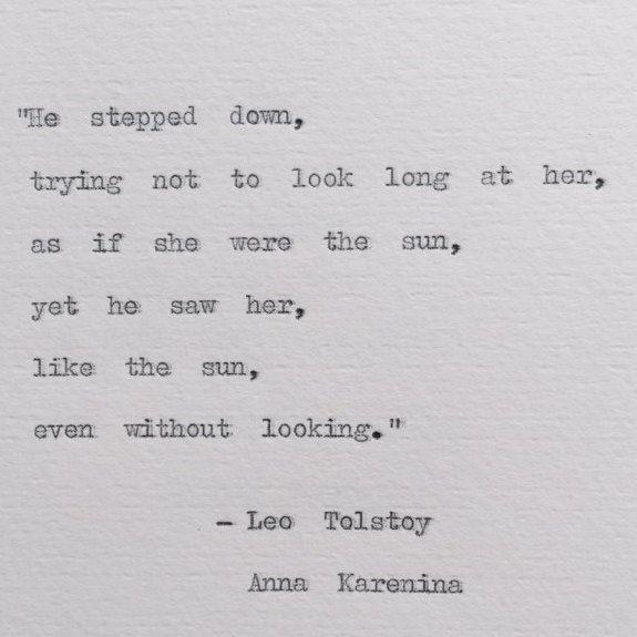 Leo Tolstoy Anna Karenina Typewriter Quote Weddings Love