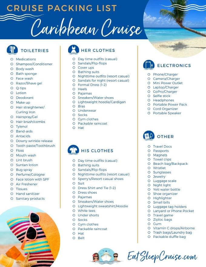 2019 Complete Caribbean Cruise Packing Guide | EatSleepCruise.com