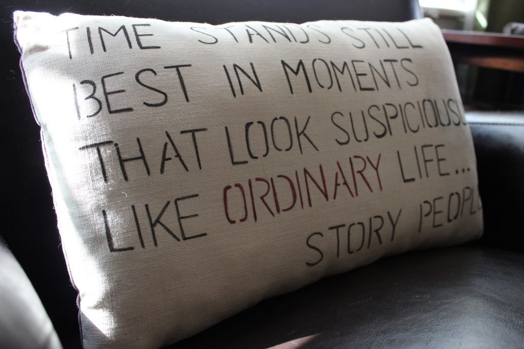 easy stencil quote throw pillow. all you need is a pillow, fabric pen and a stencil. super simple!