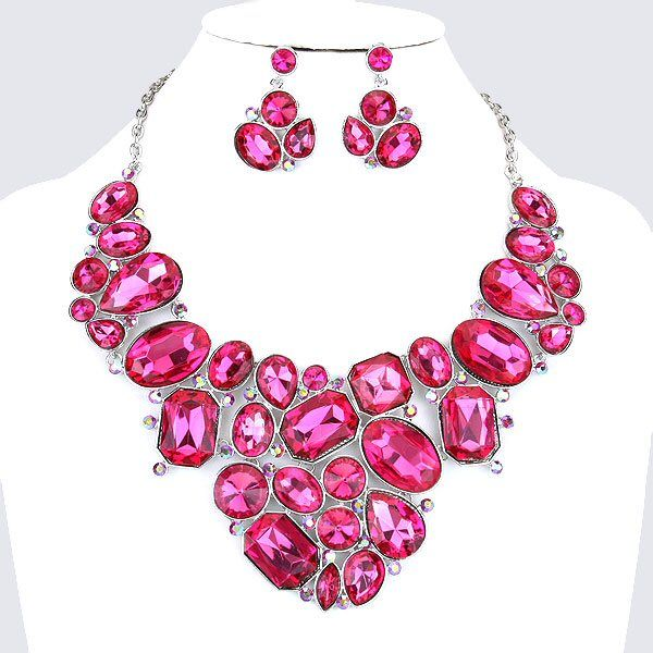 Hot Pink Fuchsia Crystal Rhinestone Formal Wedding Bridal Prom Party Pageant Bridesmaid Evening Chunky Geo Glass JewelryJewelry SetsBridal