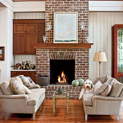 Living Room Ideas With Brick Fireplace And Tv A Red Sofa Patterned