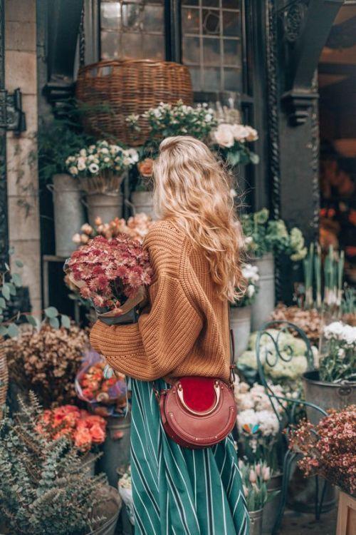 Blumen einkaufen, Mode, Farbkombination, Herbstwettermode, Vintage