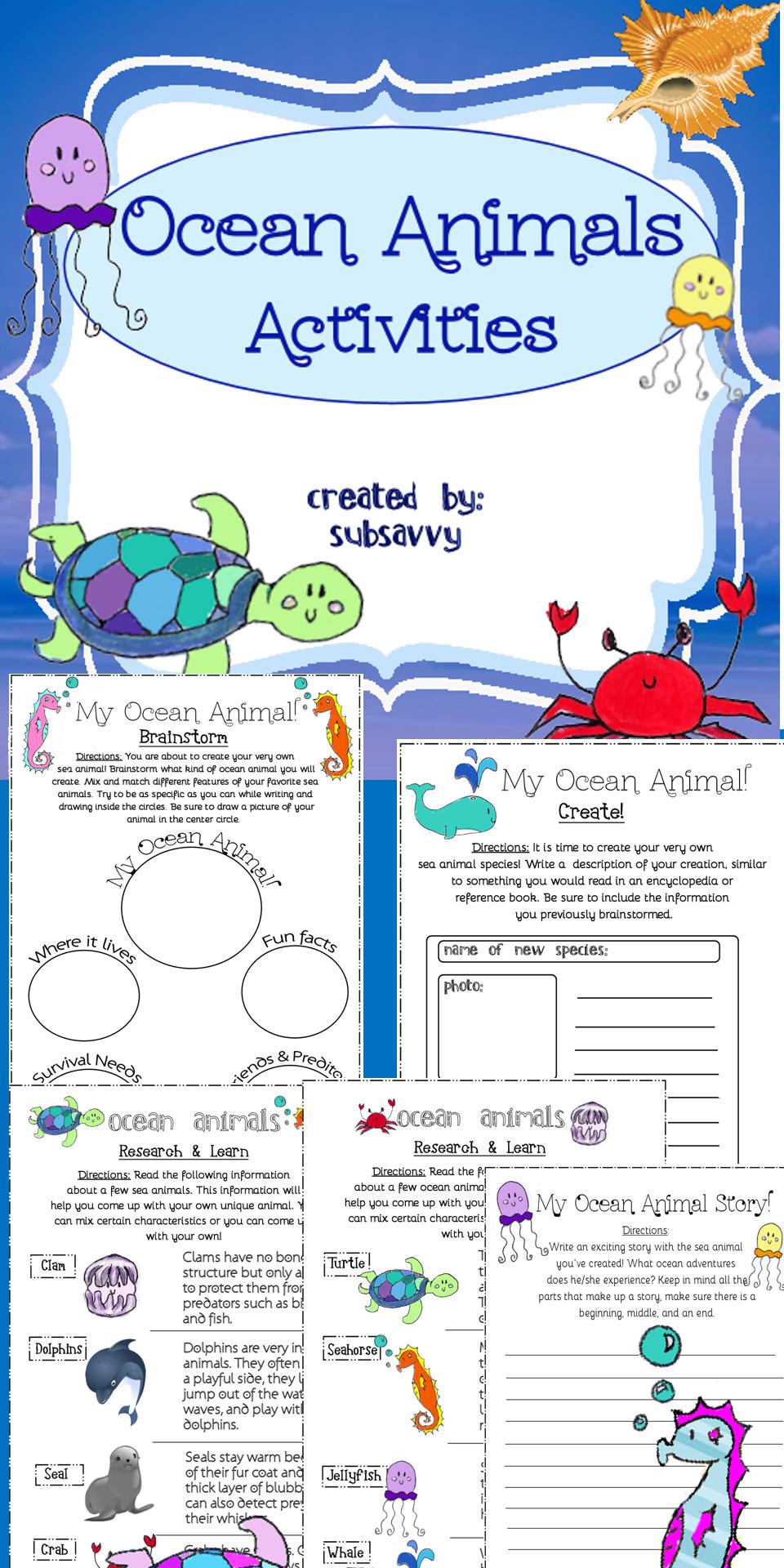 Ocean Animal Activities Ocean Activities Animal Writing Activities Animal Activities