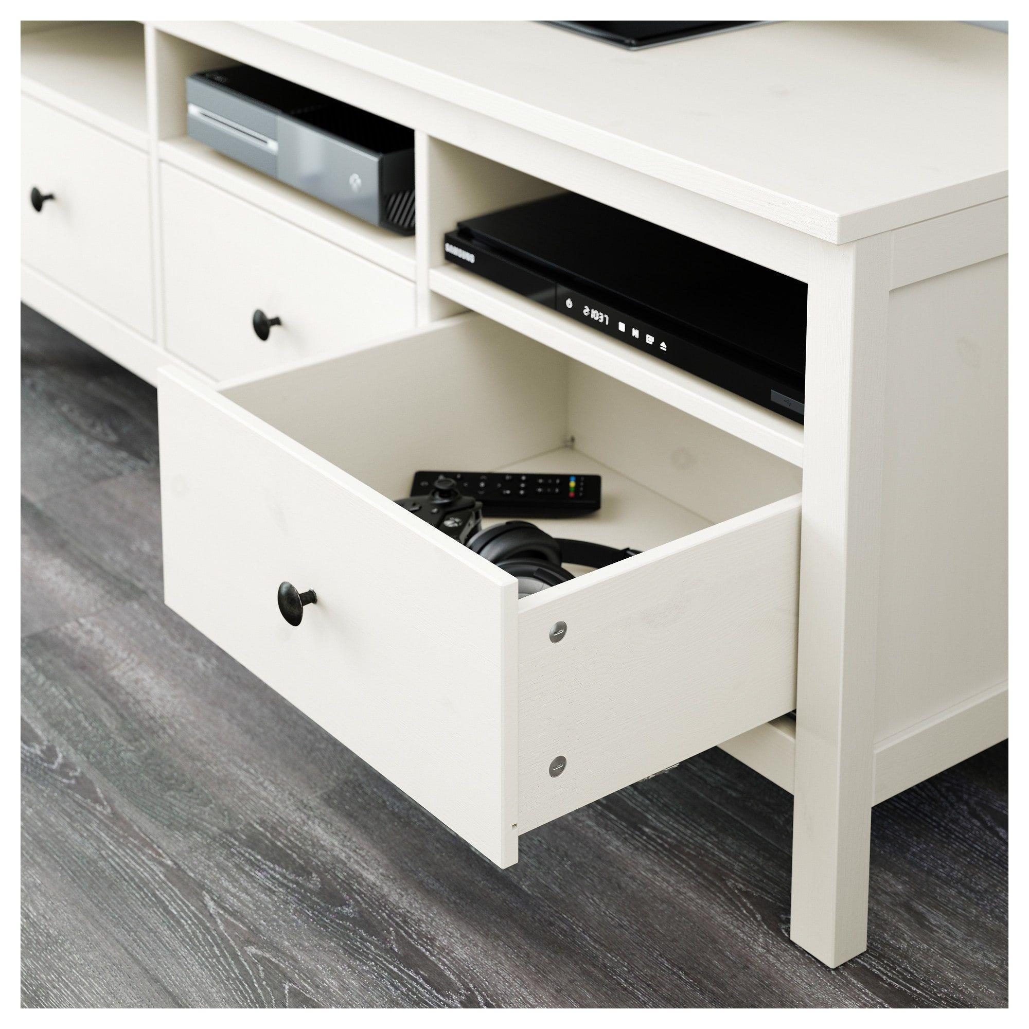 Ikea Hemnes Agencement Meuble Télé Teinté Blanc Verre