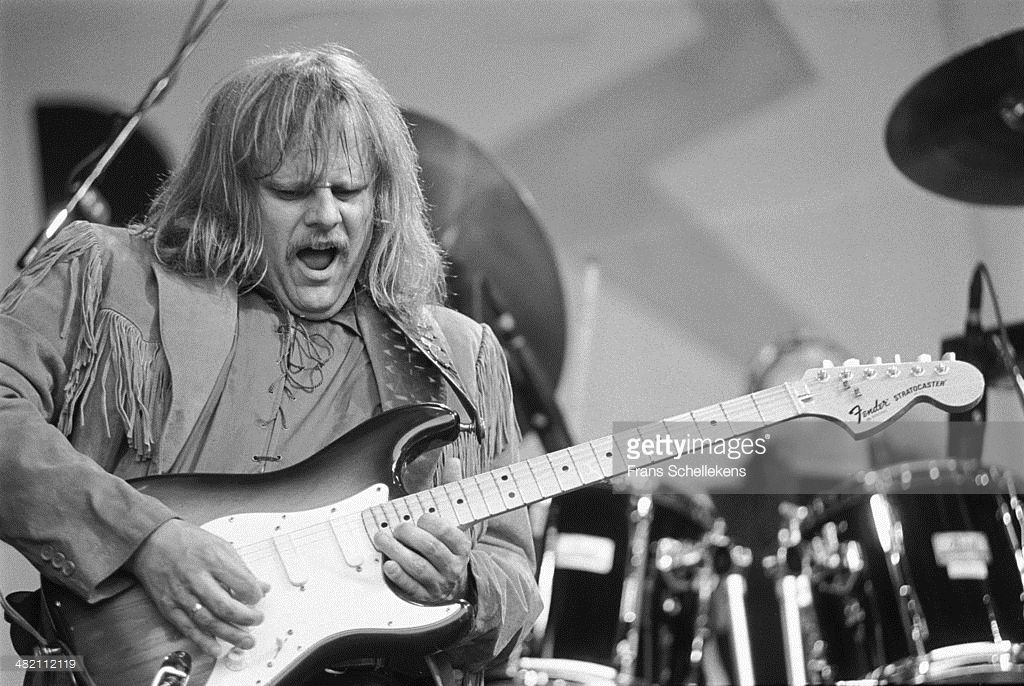 Walter Trout, great guitarist, performs on stage at Parkpop in the Hague, Netherlands on 28th June 1992. He is playing a Fender Stratocaster guitar.