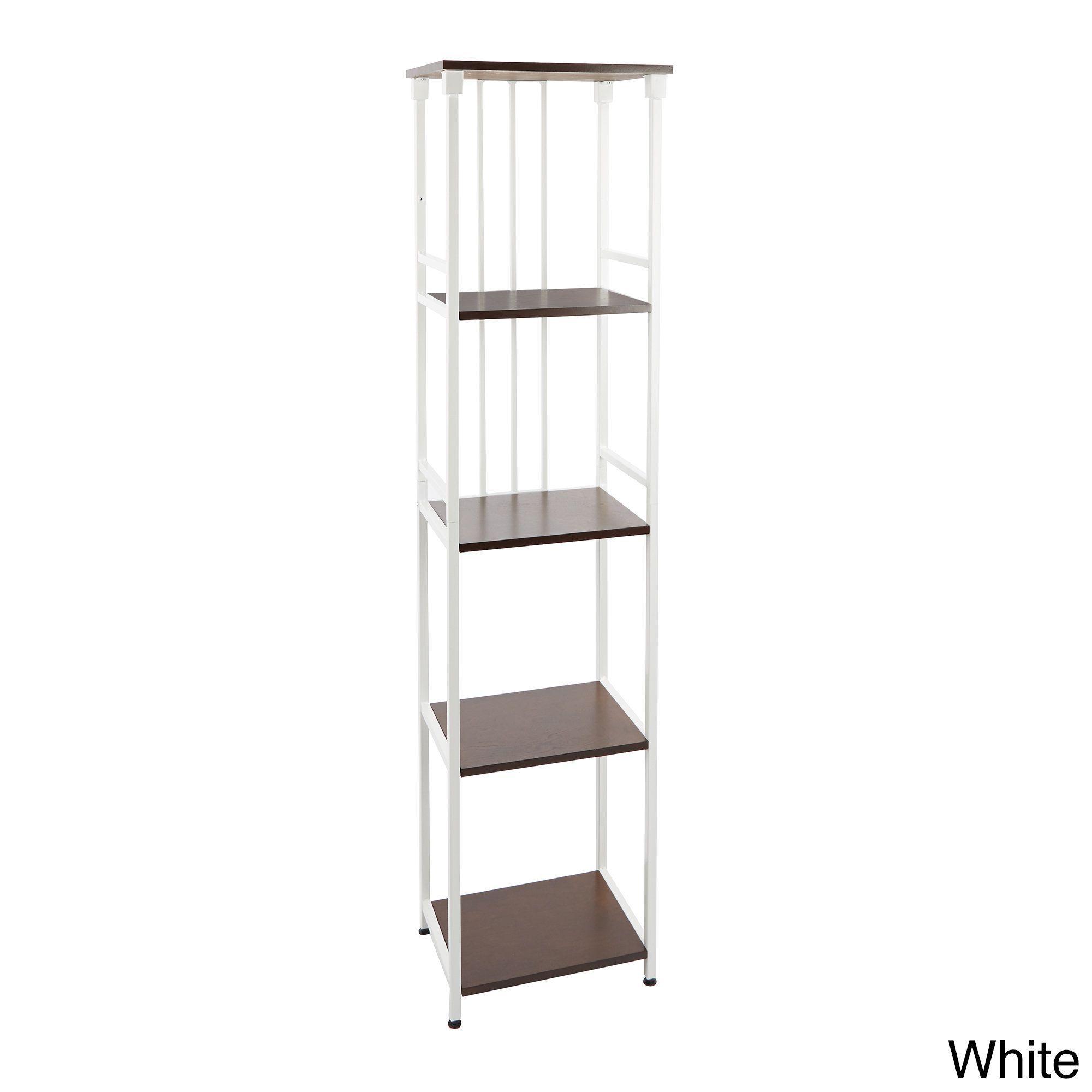 Mixed Material Bathroom Collection 5-Tier Linen Shelf (