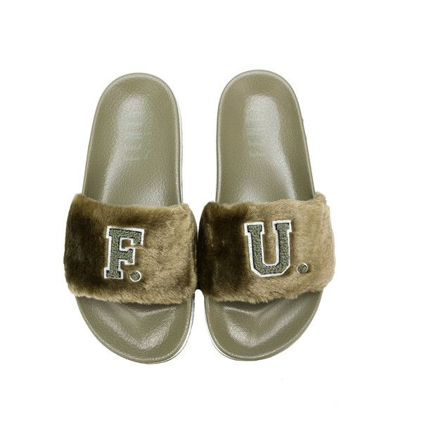 b8be729f328a00 Fenty X Puma faux-fur slide sandals ( 145) ❤ liked on Polyvore featuring  shoes