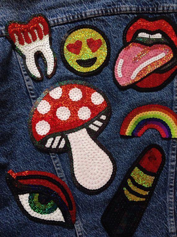 Embroidered Mushroom Sequin Patch | DIY | Iron On Patches | Emjoy | Eye | Lipstick | Lips <3 @benitathediva