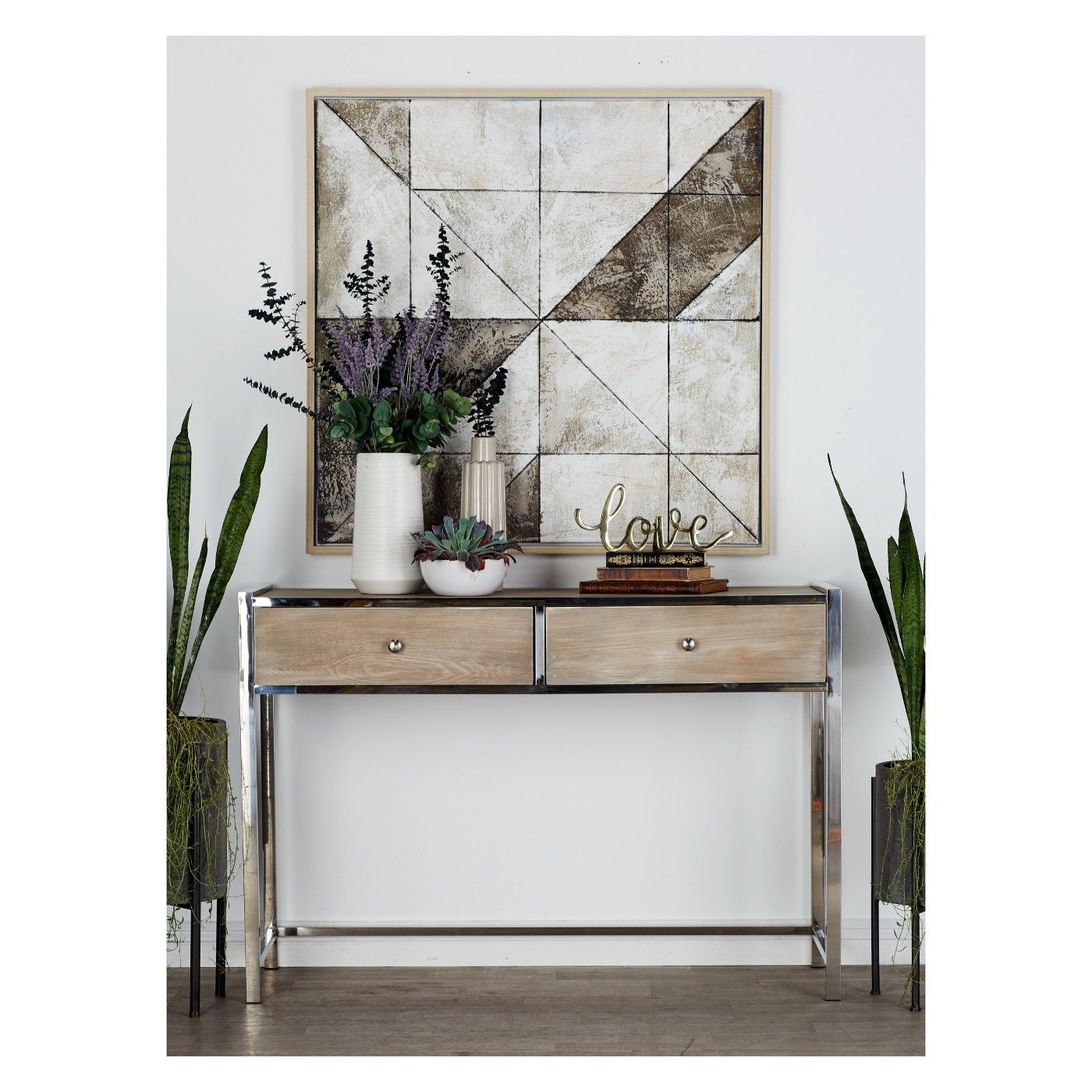 48 X 33 Modern Reflections Stainless Steel And Wood Console