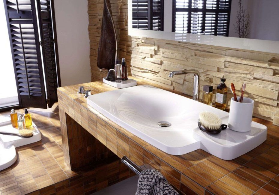 Good Badezimmer Ideen Mit Holzboden #5: Holz Mosaik Fliesen-badezimmer Fliesen Ideen