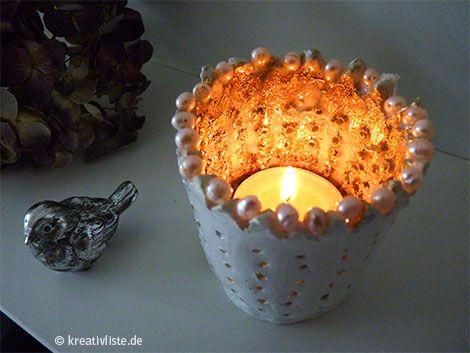 Diy windlicht krone aus modelliermasse - Blattgold basteln ...