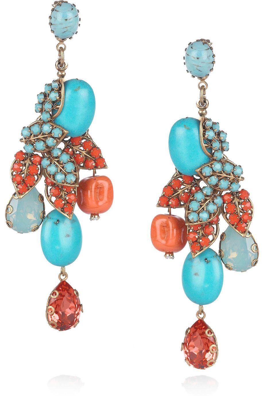 BIJOUX HEART  24-karat gold-plated Swarovski crystal earrings