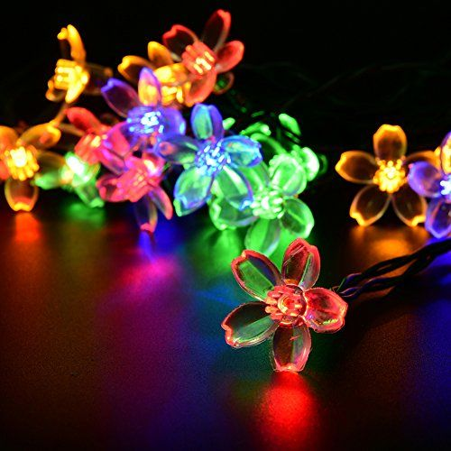 Sakura Solar String Lights WEKSI Waterproof 48m 20 LED MultiColor - solar christmas decorations