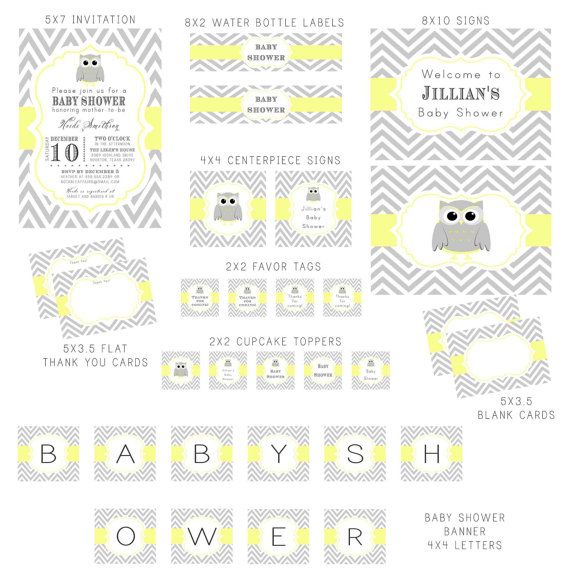 PRINTABLE Gray and Light Butter Yellow Owl and Chevron Baby Shower - baby shower template