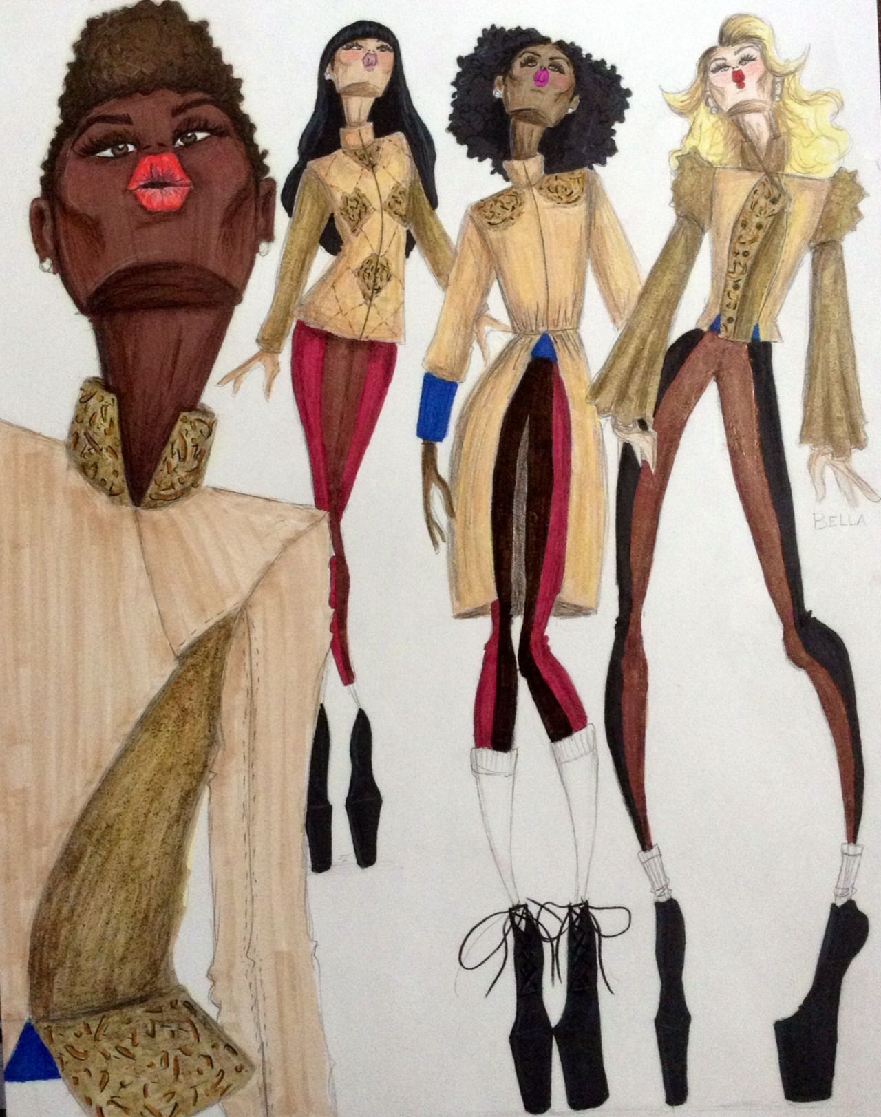 Quilted & beaded coats and jackets By Aleshia Greene http://agarts-illustrated.tumblr.com