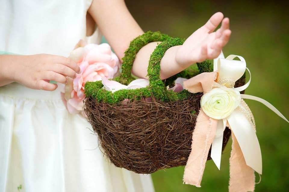 Flower Girl Basket Moss : Custom moss flower girl basket with ribbon and fresh