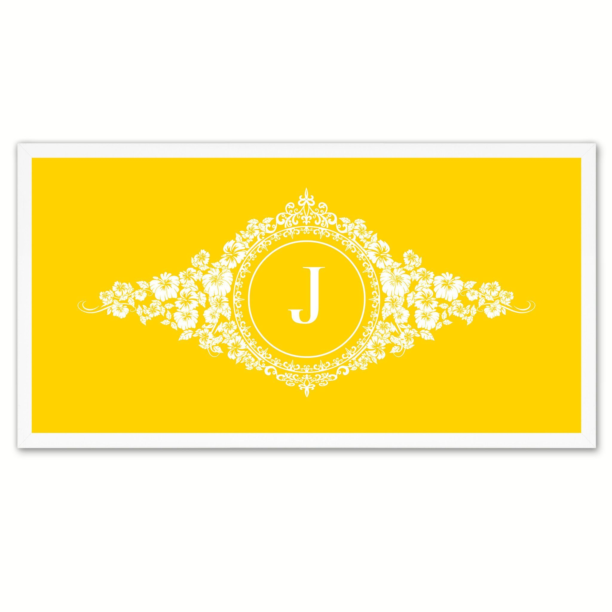 Alphabet Letter J Yellow Canvas Print White Frame Kids Bedroom Wall ...