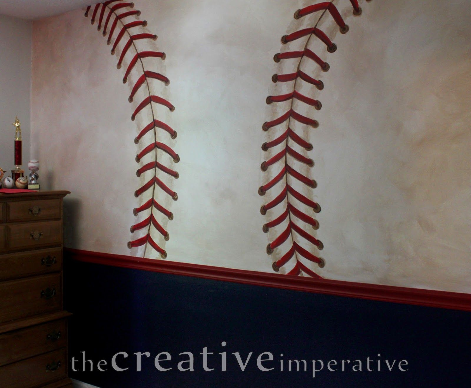The Creative Imperative Some Yankees And Nationals Baseball Murals Paint Stitching On Walls For Boys Room