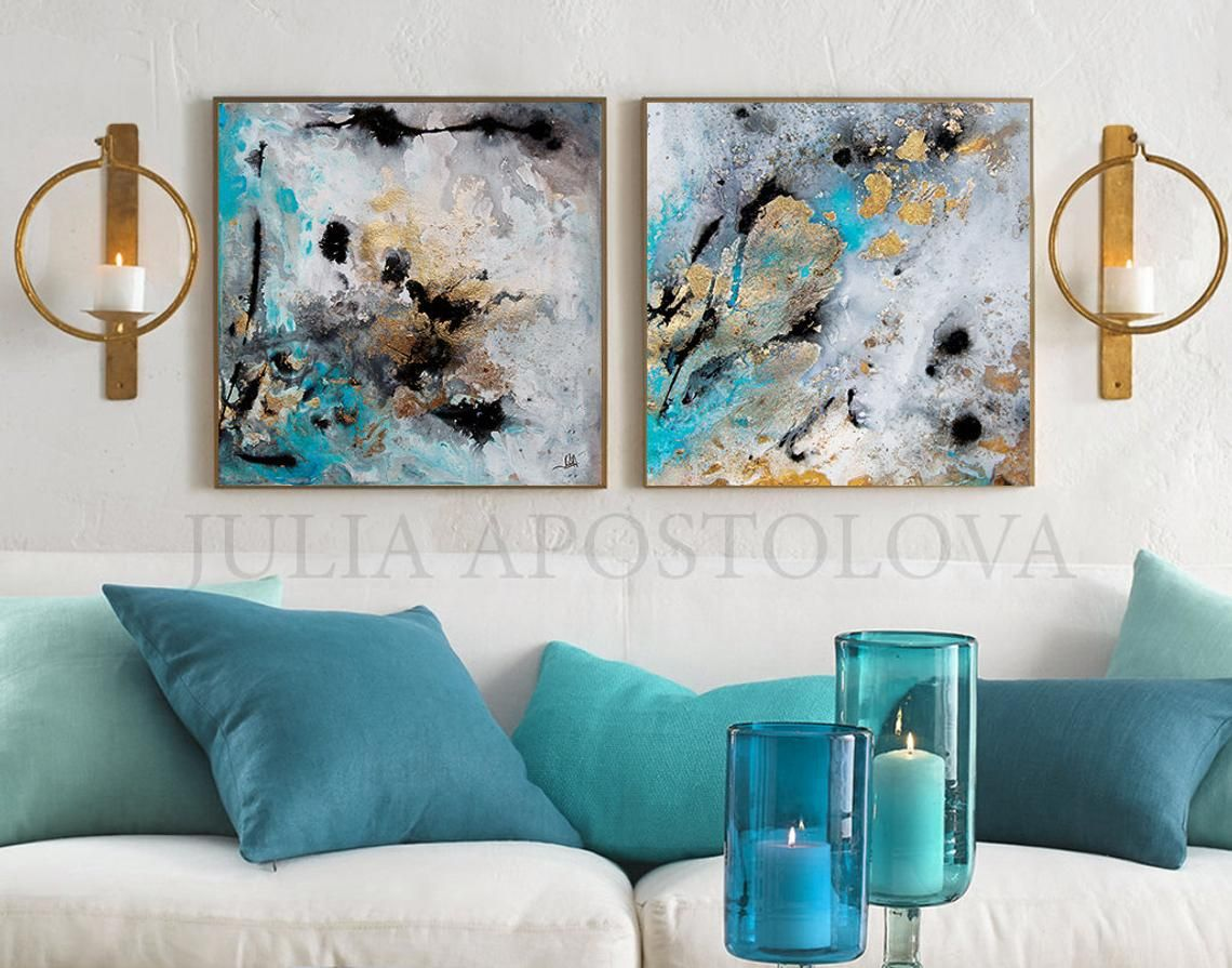 Modern Set Wall Art Gold Leaf Abstract Paintings Prints Two