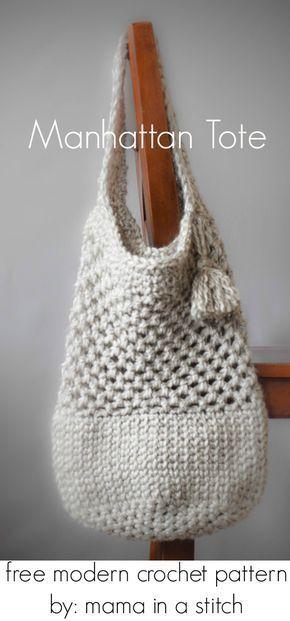 Manhattan Market Tote Crochet Pattern Crochet Crocheted Bags