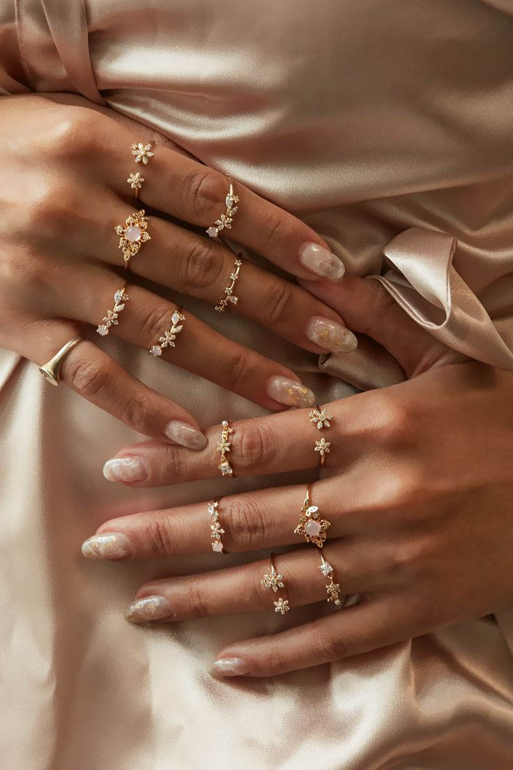 Juego de anillos de oro Rue Gembon Shina #accesorios